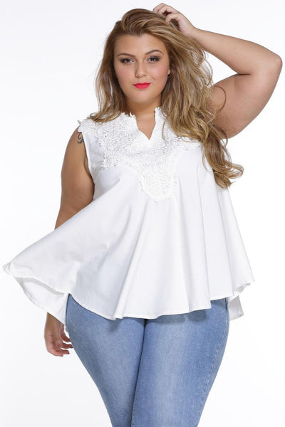 Sleeveless White Embroidered design Chic Blouse Top