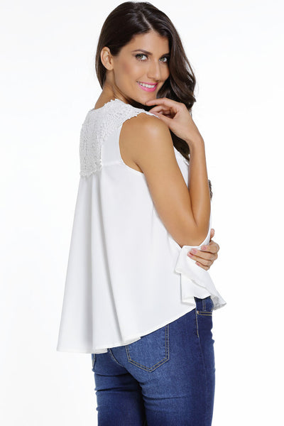 Sleeveless White Embroidered design Chic Plus Size Blouse Top