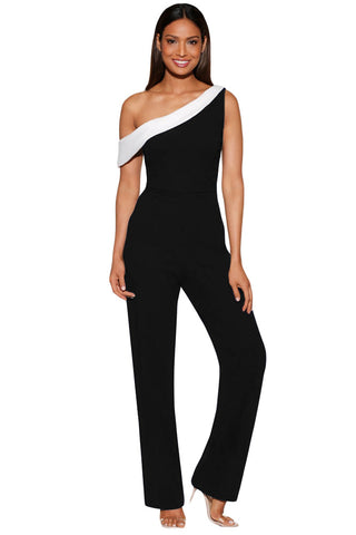 "Slim Fit Her Fashion Black""n""White Colorblock One-shoulder Jumpsuit"