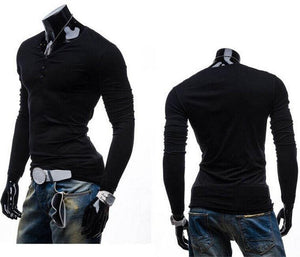 "V Neck Buttons Slim Casual T-Shirts ""Trendy Series"""