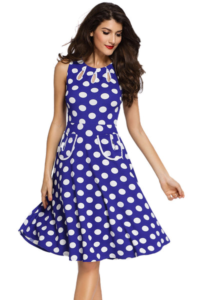 Smart Polka Dot Print Keyholes Vintage Plus Size Blue Women Dress