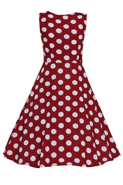 Smart Polka Dot Print Keyholes Vintage Red Women Dress