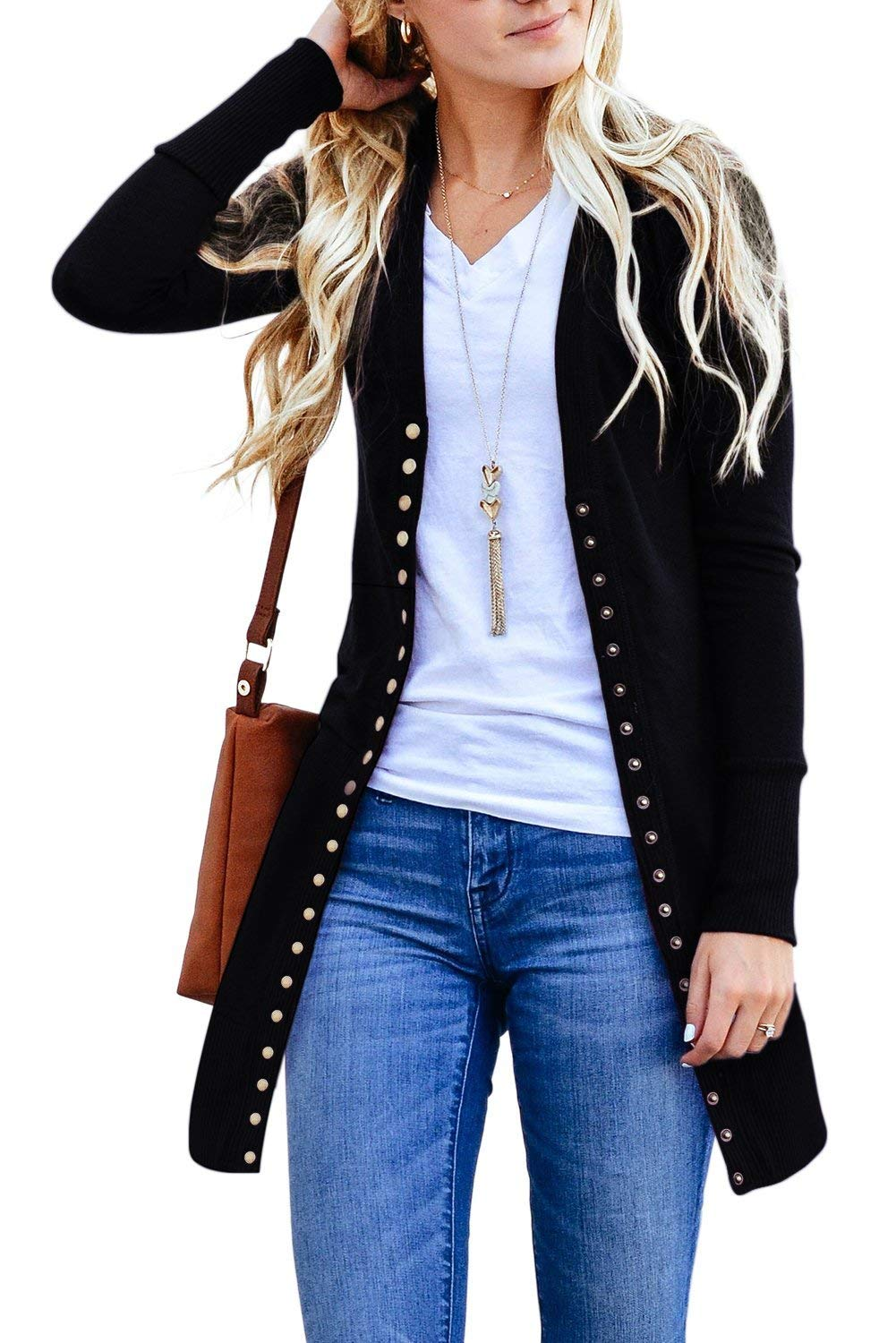 Snap Button Down Black Long Sleeve Knit Ribbed Her Fashion Cardigan