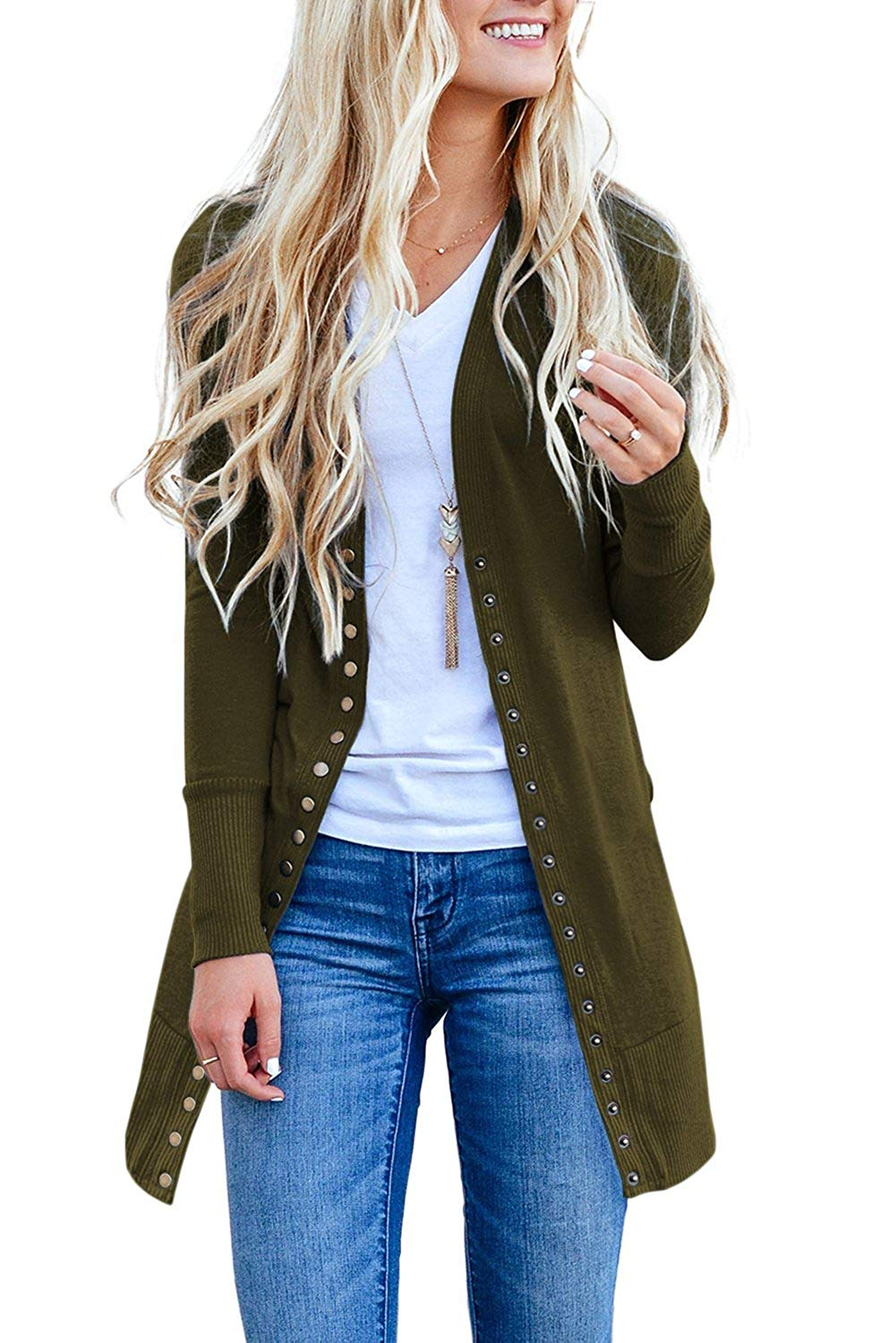 Snap Button Down Green Long Sleeve Knit Ribbed Her Fashion Cardigan
