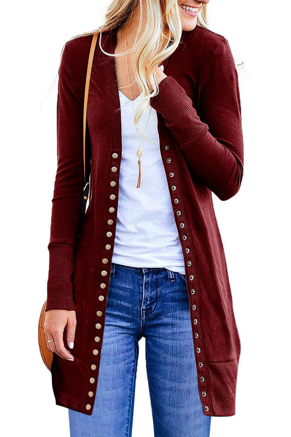 Snap Button Down Red Long Sleeve Knit Ribbed Her Fashion Cardigan
