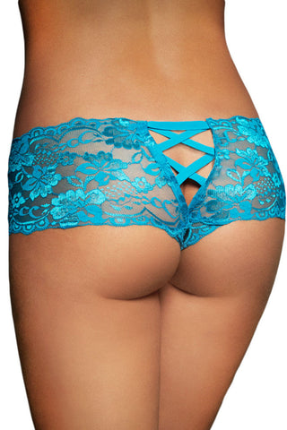 Soft Go-To Blue Floral Lace Shell and V-shape Knicker