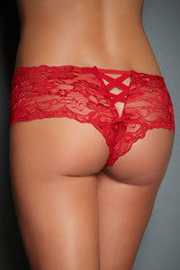 Soft Go-To Red Floral Lace Shell and V-shape Knicker