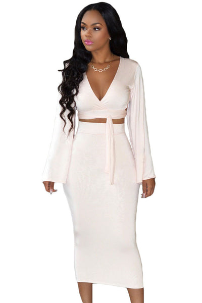 Soft Pink Long Bell Sleeves Two Piece Women Skirt Set