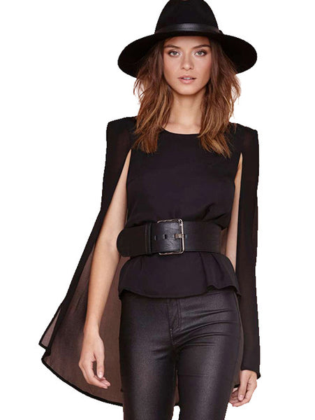 Solid O Neck Elegant Series Cape Chiffon Blouse