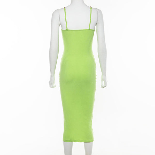 Spaghetti Chain Strap Green Knitted HerFashion Sleeveless Bodycon Dress