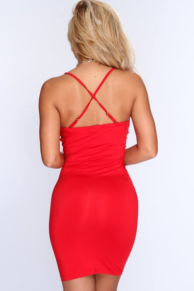Spaghetti Strap Her Fashion Red Bandage Sexy Club Party Dress