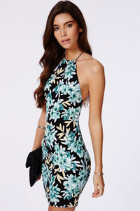 Spaghetti Straps Chic Series Green Floral Dress