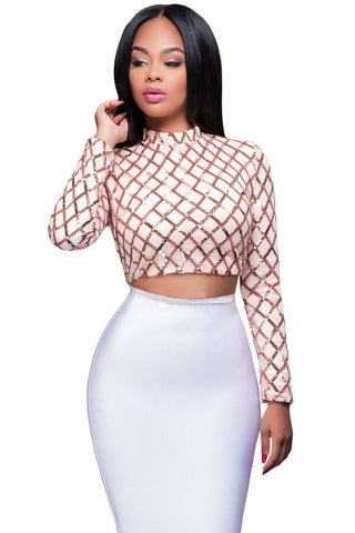 Sparkling Pink Gold Sequin Pattern Her Chic Crop Top