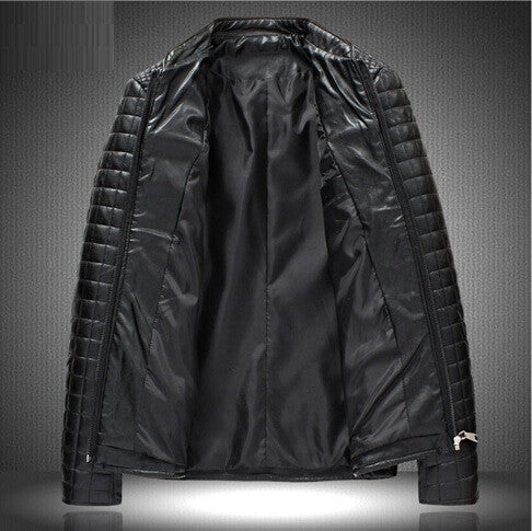 "Stand-Up Collar Short Motorcycle  Water Wash Leather Jacket ""Chic Series"""