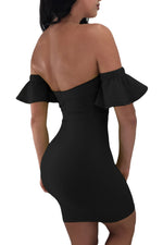 Strapless HerFashion Black Flared Short Sleeves Tie Front Bodycon Dress