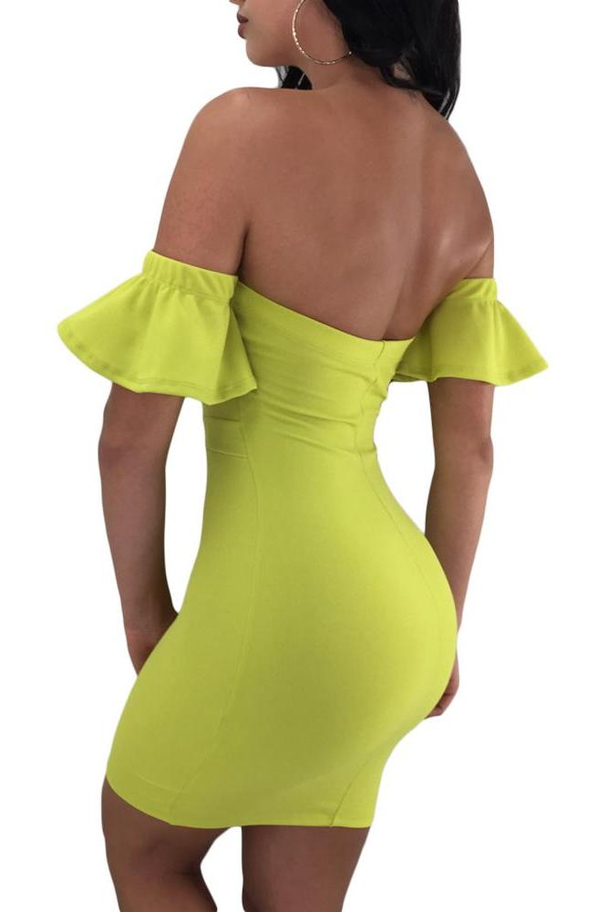 Strapless HerFashion Lime Flared Short Sleeves Tie Front Bodycon Dress