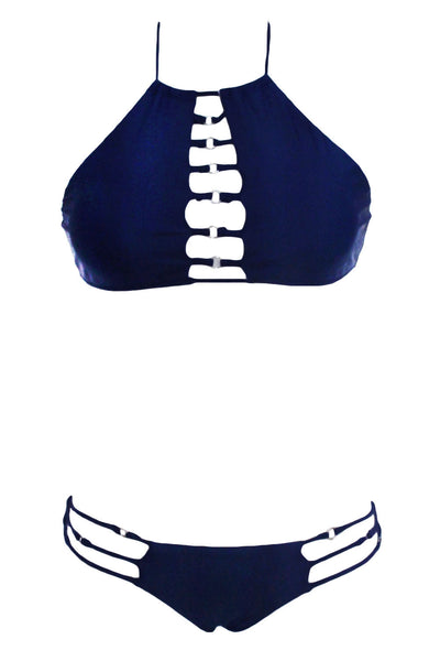 Strappy Detail  Navy Blue Glittering High Neck Bathing Suit