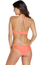Strappy Detail  Watermelon Red Glittering High Neck Bathing Suit