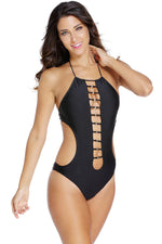 Strappy Front Hater Sleek Black One Piece Trendy Swimsuit