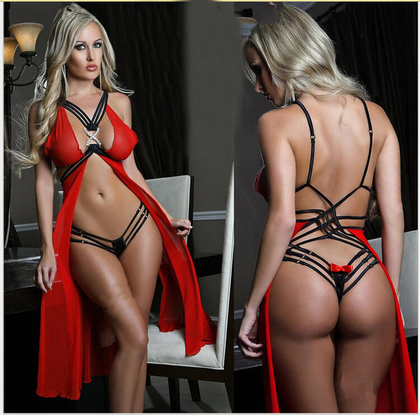 Strappy Mesh Rhinestone X Accent Babydoll Red Lingerie Set