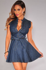 Stretch Dark Blue Denim Belted Sleeveless Skater Dress