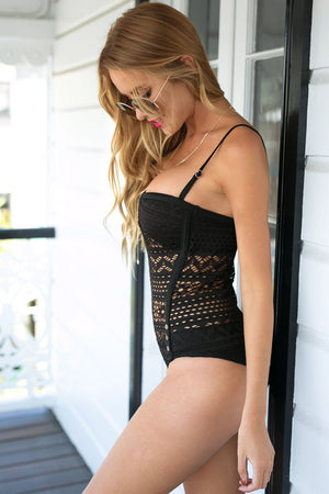 Striking Impression Black Lace Halter Teddy Swimsuit