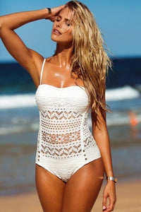 Striking Impression White Lace Halter Teddy Swimsuit