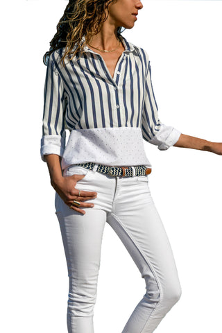 Stripes and Dot Patchwork Relaxed Tailored Silhouette Shirt