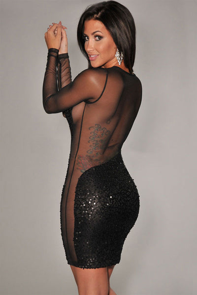 Stunner Sequined Sheer Long Sleeves Black Bodycon Women Dress