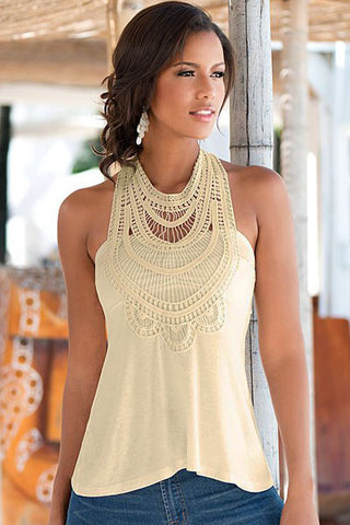 Stunning Apricot Crochet High Neck Boho Style Tank Top