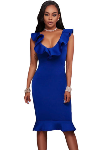 Stunning Blue Ruffle Neckline Charming Mermaid Hem Elegant Midi Dress