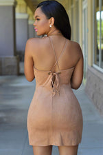 Stunning Faux Suede Mini Dress