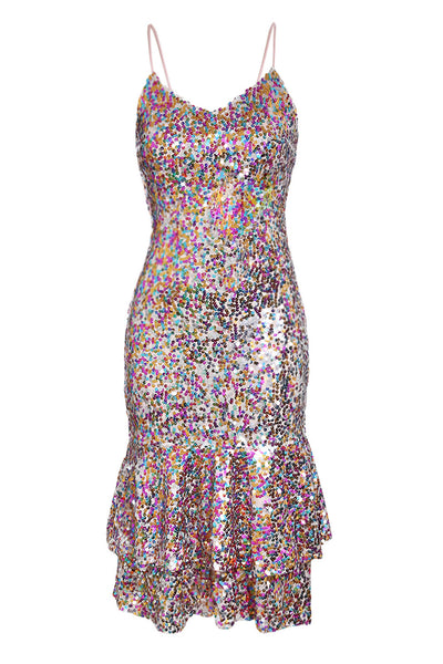 Stunning Frill Bodycon Her Fashion Shimmering Sequin Mermaid Dress