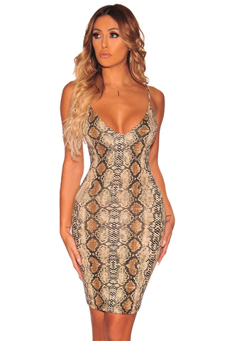 Stunning Look Her Fashion Nude Snake Print Chic Spaghetti Straps Dress