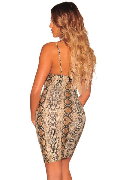 Stunning Look HerFashion Multicolor Snake Print Spaghetti Straps Dress