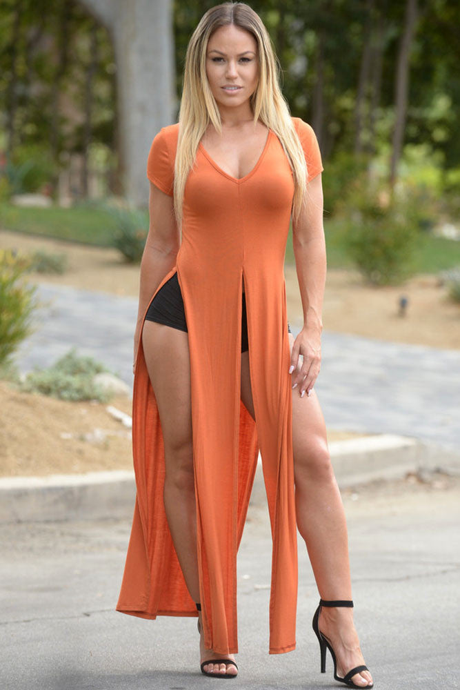 Stunning Orange Boho Maxi Style Double Slits Top