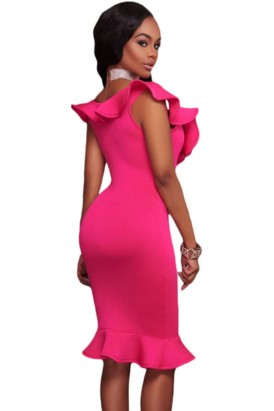 Stunning Rosy Ruffle Neckline Charming Mermaid Hem Elegant Midi Dress