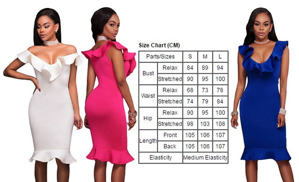 Stunning White Ruffle Neckline Charming Mermaid Hem Elegant Midi Dress