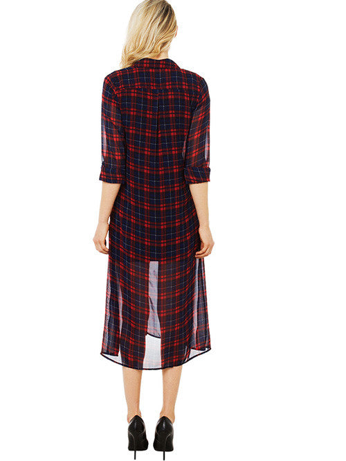 Stylish Contrast Color Plaid Fashion Casual Shirt Dress