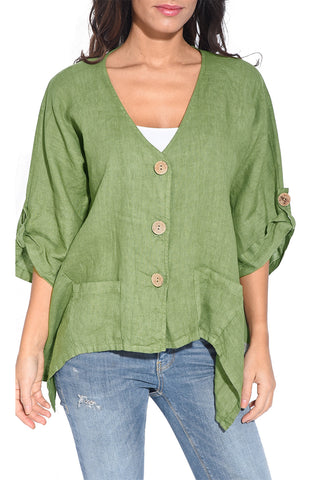 Stylish Look Green Roll Tab Sleeve Button Front Her Casual Shirt