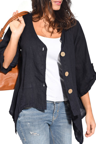 Stylish Look Navy Blue Roll Tab Sleeve Button Front Her Casual Shirt