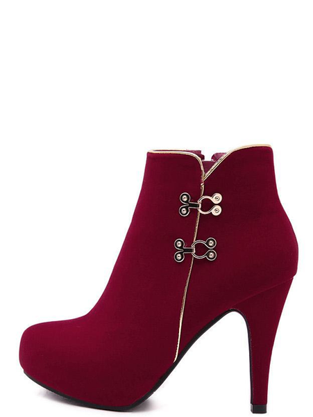 Stylish Metal Stud Pure Color Sexy Round Toe Slim Heel Women Red Boots