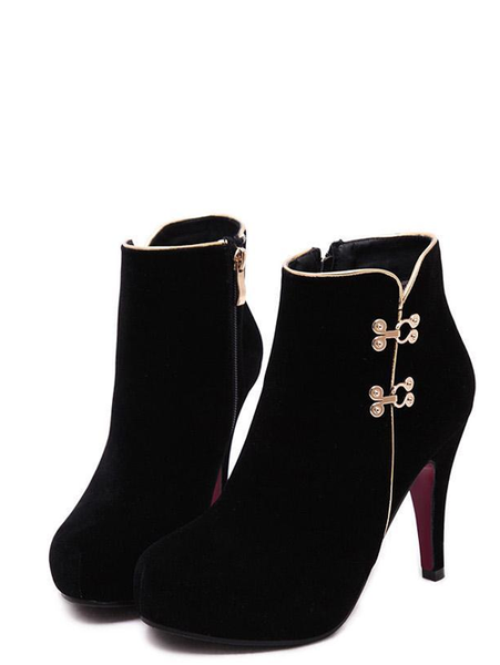 Stylish Metal Stud Pure Color Sexy Round Toe Slim Heel Women Black Boots