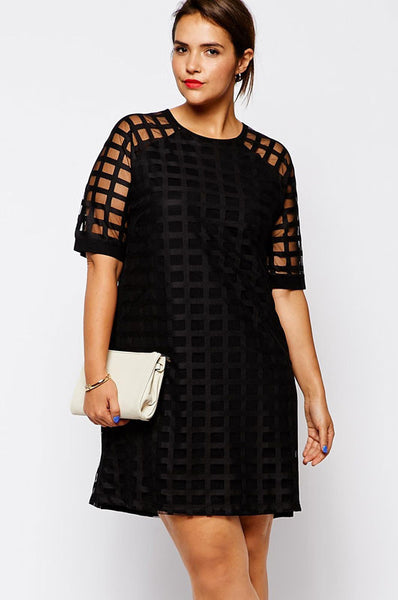 Stylish Netty Mesh Overlay Plus Size Mini Dress