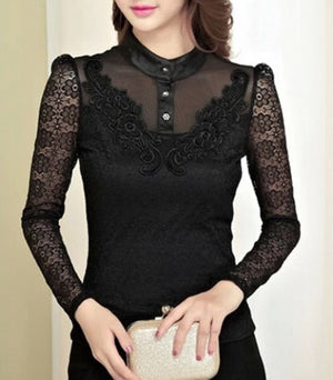"""Elegant Series"" Round Stand up Collar Single Breasted Long Sleeves Lace Shirt"