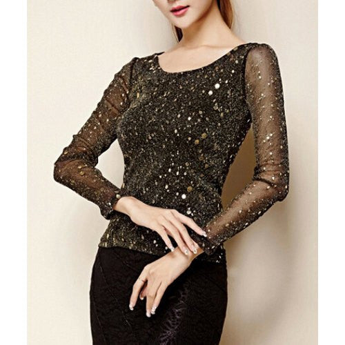 """Stylish Series"" Scoop Neck Long Sleeves Women Blouse"