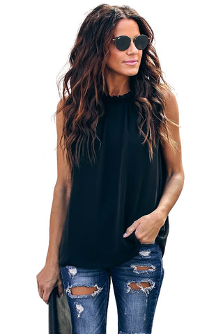 Stylish Summer Black Ruffle Trim Neckline Her Fashion Tank Top