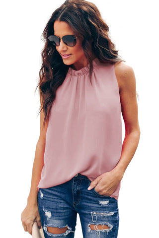 Stylish Summer Pink Ruffle Trim Neckline Her Fashion Tank Top