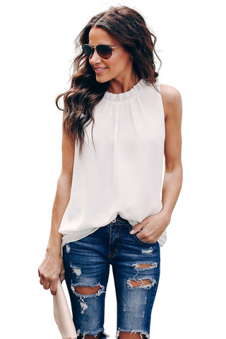 Stylish Summer White Ruffle Trim Neckline Her Fashion Tank Top