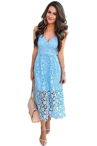 Stylish V-Neck Her Fashion Spaghetti Strap Casual Blue Lace Midi Dress